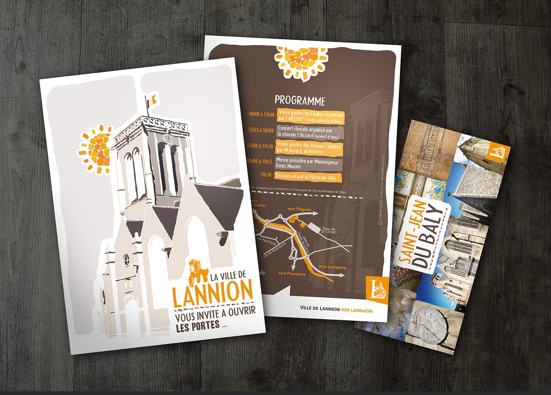 LANNION SAINT JEAN DU BALY Inauguration De Lglise Lannion Rnove Illustration Dpliant Affiche Flyer Carte Postale